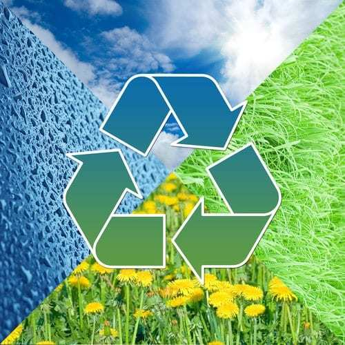 Recycling symbol in front of four images of nature - sky, water, grass, flowers