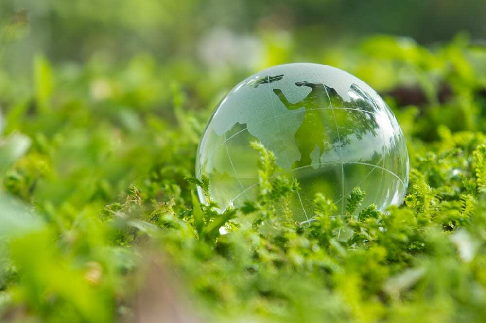 Glass model of globe sitting in the grass