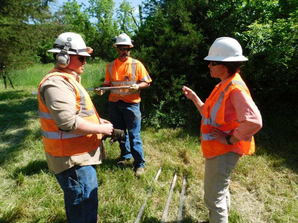 Emily Austin discusses a drilling project on one of her sites in southwest Missouri.