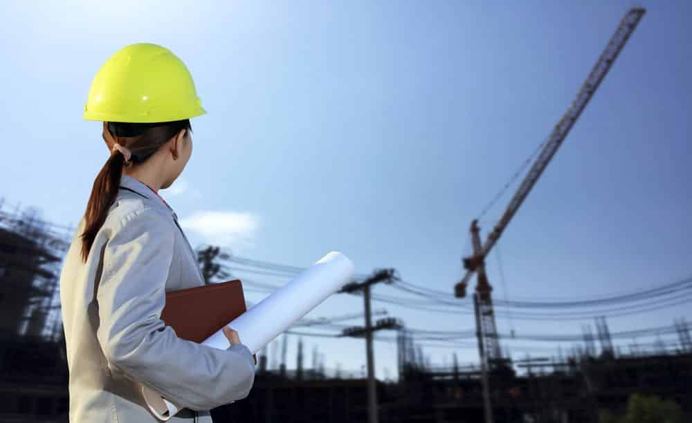 Young female engineer at construction site