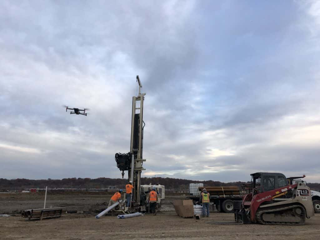 Drone Monitoring a Drilling Site
